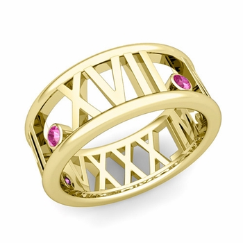 3 Stone Pink Sapphire Roman Numeral Wedding Ring in 18k Gold, 9mm