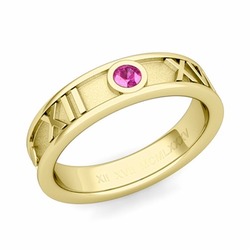 Solitaire Pink Sapphire Roman Numeral Wedding Ring in 18k Gold, 5mm