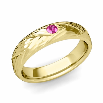 Solitaire Pink Sapphire Anniversary Ring in 18k Gold Hammered Wedding Band, 5mm