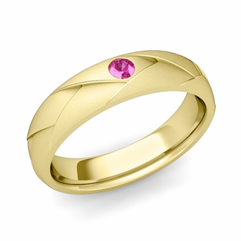Solitaire Pink Sapphire Anniversary Ring in 18k Gold Satin Wedding Band, 5mm