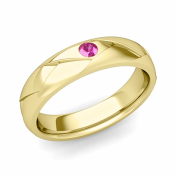 Solitaire Pink Sapphire Anniversary Ring in 18k Gold Shiny Wedding Band, 5mm
