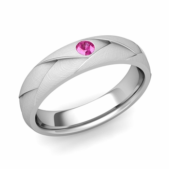 Solitaire Pink Sapphire Anniversary Ring in Platinum Brushed Wedding Band, 5mm