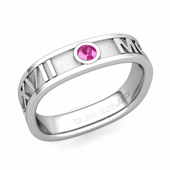 Square Roman Numeral Pink Sapphire Wedding Band in Platinum, 5mm