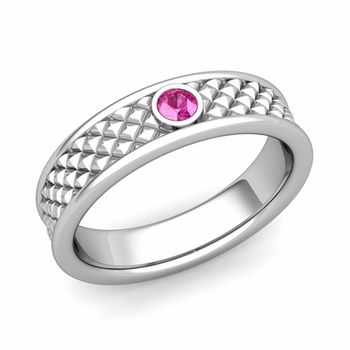Solitaire Pink Sapphire Anniversary Ring in Platinum Diamond Cut Wedding Band, 5.5mm