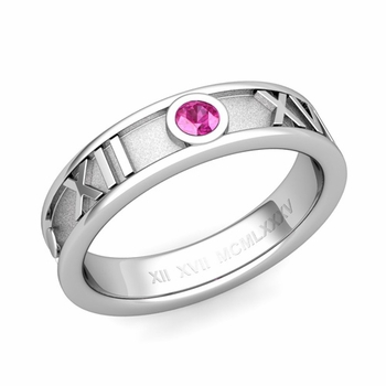 Solitaire Pink Sapphire Roman Numeral Wedding Ring in Platinum, 5mm