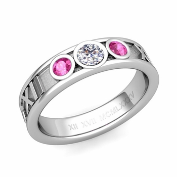 3 Stone Diamond and Pink Sapphire Roman Numeral Wedding Ring in Platinum