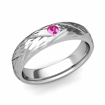 Solitaire Pink Sapphire Anniversary Ring in Platinum Hammered Wedding Band, 5mm