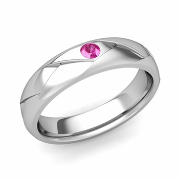 Solitaire Pink Sapphire Anniversary Ring in Platinum Shiny Wedding Band, 5mm