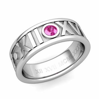 Solitaire Pink Sapphire Roman Numeral Wedding Ring in Platinum, 7mm