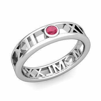 Bezel Set Ruby Roman Numeral Wedding Ring in 14k Gold, 5mm