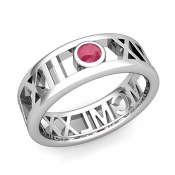Bezel Set Ruby Roman Numeral Wedding Ring in 14k Gold, 7mm