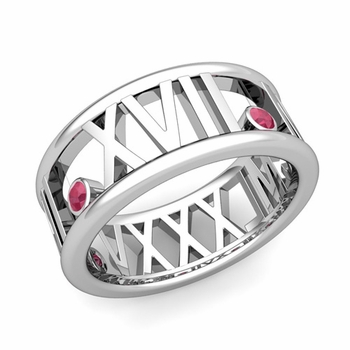 3 Stone Ruby Roman Numeral Wedding Ring in 14k Gold, 9mm