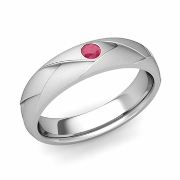 Solitaire Ruby Anniversary Ring in 14k Gold Satin Wedding Band, 5mm