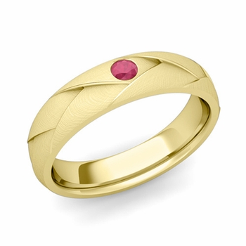 Solitaire Ruby Anniversary Ring in 18k Gold Brushed Wedding Band, 5mm