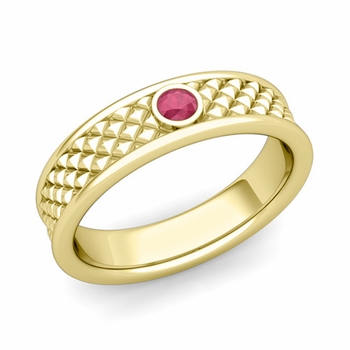 Solitaire Ruby Anniversary Ring in 18k Gold Diamond Cut Wedding Band, 5.5mm