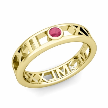 Bezel Set Ruby Roman Numeral Wedding Ring in 18k Gold, 5mm
