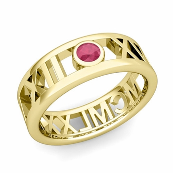 Bezel Set Ruby Roman Numeral Wedding Ring in 18k Gold, 7mm
