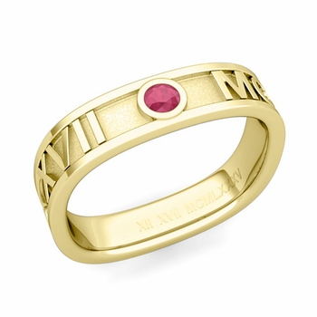 Square Roman Numeral Ruby Wedding Band in 18k Gold, 5mm