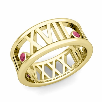 3 Stone Ruby Roman Numeral Wedding Ring in 18k Gold, 9mm