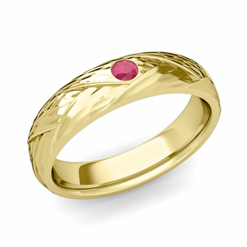 Solitaire Ruby Anniversary Ring in 18k Gold Hammered Wedding Band, 5mm