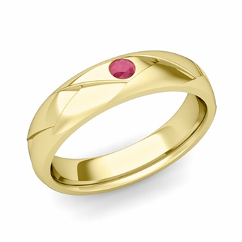 Solitaire Ruby Anniversary Ring in 18k Gold Shiny Wedding Band, 5mm