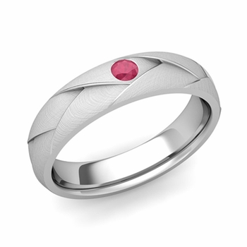 Solitaire Ruby Anniversary Ring in Platinum Brushed Wedding Band, 5mm