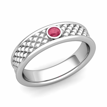 Solitaire Ruby Anniversary Ring in Platinum Diamond Cut Wedding Band, 5.5mm
