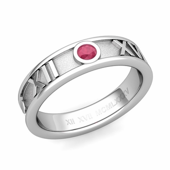 Solitaire Ruby Roman Numeral Wedding Ring in Platinum, 5mm