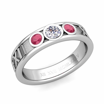 3 Stone Diamond and Ruby Roman Numeral Wedding Ring in Platinum