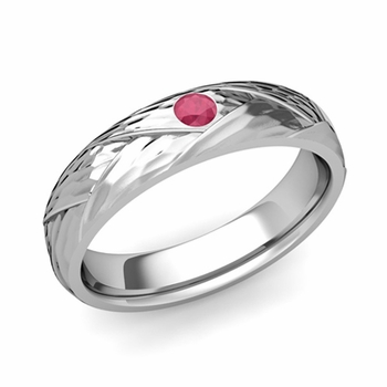 Solitaire Ruby Anniversary Ring in Platinum Hammered Wedding Band, 5mm