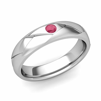 Solitaire Ruby Anniversary Ring in Platinum Shiny Wedding Band, 5mm