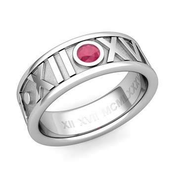 Solitaire Ruby Roman Numeral Wedding Ring in Platinum, 7mm