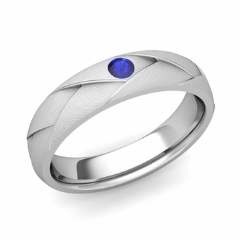 Solitaire Sapphire Anniversary Ring in 14k Gold Brushed Wedding Band, 5mm