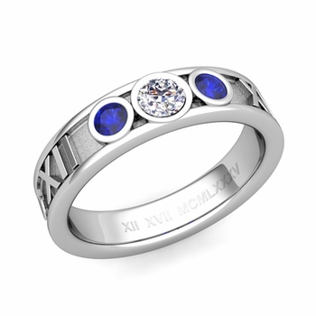 3 Stone Diamond and Sapphire Roman Numeral Wedding Ring in 14k Gold