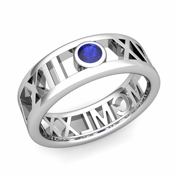 Bezel Set Sapphire Roman Numeral Wedding Ring in 14k Gold, 7mm
