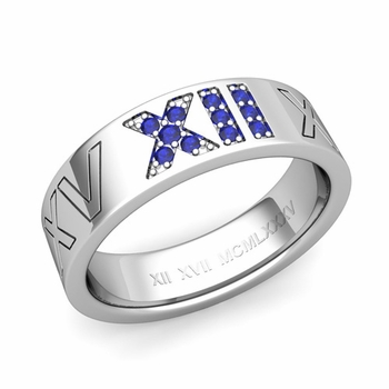 Roman Numeral Wedding Ring with Pave Set Sapphire in 14k Gold