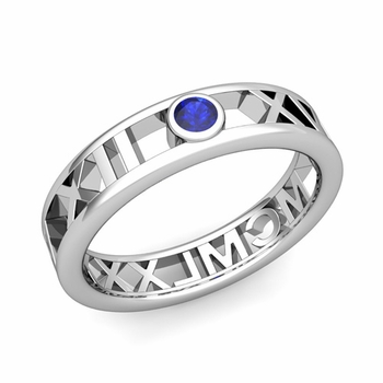 Bezel Set Sapphire Roman Numeral Wedding Ring in 14k Gold, 5mm