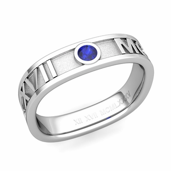 Square Roman Numeral Sapphire Wedding Band in 14k Gold, 5mm