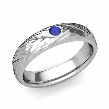 Solitaire Sapphire Anniversary Ring in 14k Gold Hammered Wedding Band, 5mm