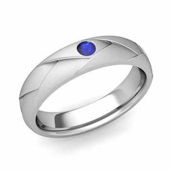 Solitaire Sapphire Anniversary Ring in 14k Gold Satin Wedding Band, 5mm