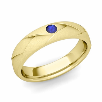 Solitaire Sapphire Anniversary Ring in 18k Gold Brushed Wedding Band, 5mm