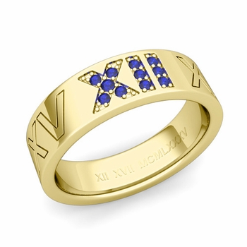 Roman Numeral Wedding Ring with Pave Set Sapphire in 18k Gold