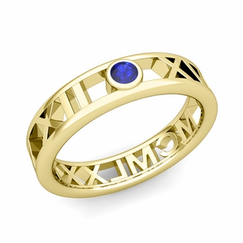 Bezel Set Sapphire Roman Numeral Wedding Ring in 18k Gold, 5mm