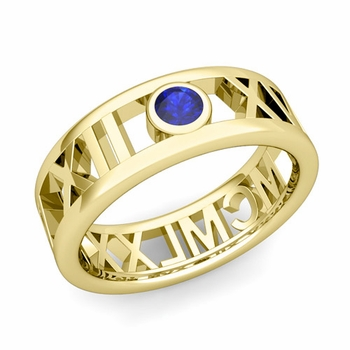 Bezel Set Sapphire Roman Numeral Wedding Ring in 18k Gold, 7mm