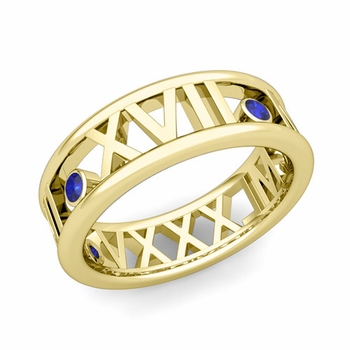 3 Stone Sapphire Roman Numeral Wedding Ring in 18k Gold, 7mm
