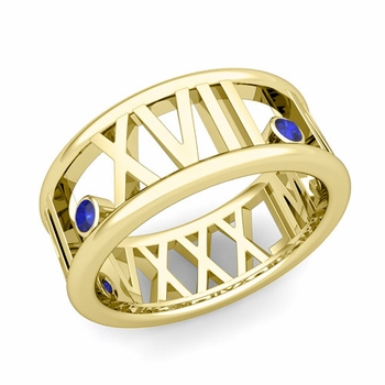 3 Stone Sapphire Roman Numeral Wedding Ring in 18k Gold, 9mm