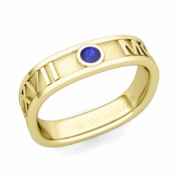 Square Roman Numeral Sapphire Wedding Band in 18k Gold, 5mm
