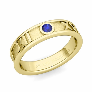Solitaire Sapphire Roman Numeral Wedding Ring in 18k Gold, 5mm