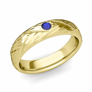 Solitaire Sapphire Anniversary Ring in 18k Gold Hammered Wedding Band, 5mm
