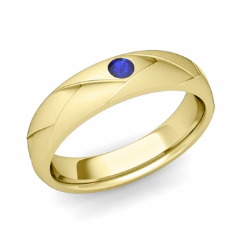 Solitaire Sapphire Anniversary Ring in 18k Gold Satin Wedding Band, 5mm